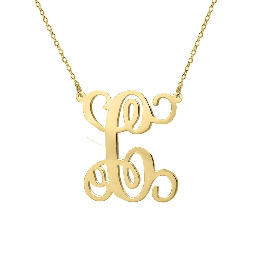monogram necklace 18k gold plated pendant single initial made