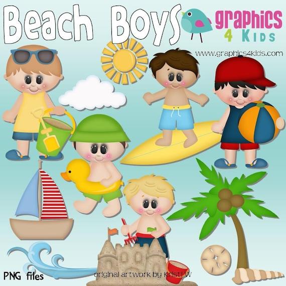 Beach boys Digital Clipart Clip art for scrapbooking party