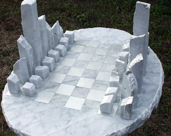 Large Carved Marble Chess Set