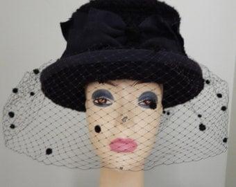 Black Hat with Veil Vintage 1990's