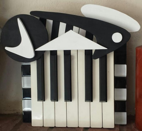 Items similar to key hanger made from piano keys on for Art made with keys