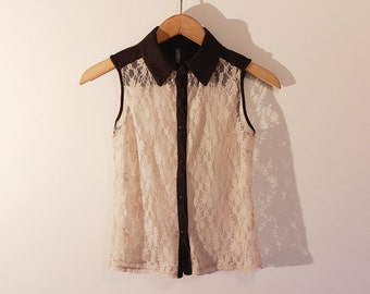 Lacy Beige Black Vintage Shirt Tank Top Collar Delicate Subtile Sleeveless Chic