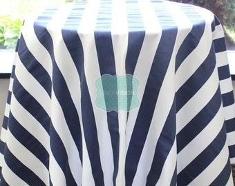Tablecloth - Premier Prints - Canopy Stripe - Blue - Choose Your Size - Table Linen Wedding Home Decor Dining Kitchen