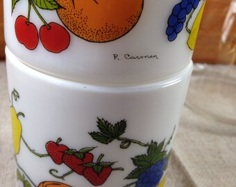 Milk Glass Coffee Mugs in Fruit Pattern Set of 2 ~ By R Carman ~ Made in France ~ Hot Chocolate Cups ~ Retro Mugs ~ Vintage Kitchen Decor