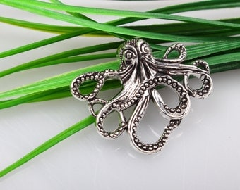 Wholesale~ Large Antique Silver Paul Octopus Charms Connectors  Octopus Charms Pendants 43x35 mm C4080