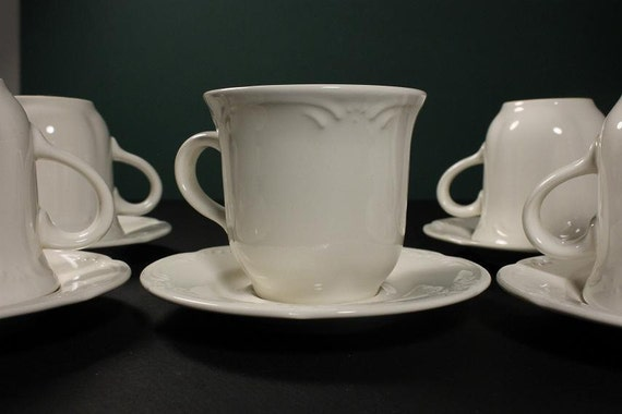 Cup and Saucers Pfaltzgraff Filigree Pattern White Set of 4