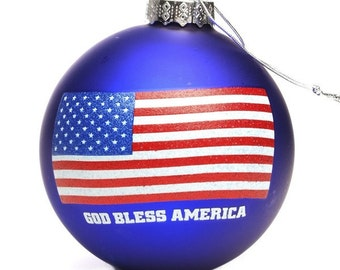 Handpainted USA Flag Glass Bauble