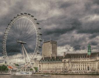 London Photogaphy, London Eye Photo, London County Hall, River Thames Photo, London Home Decor, London Print, English Decor