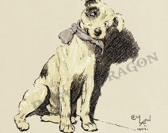 "Cecil Aldin  ""Picture Day""  1902 Reproduction Digital Print Wall Hanging Animal Print Dog Jack Russell"