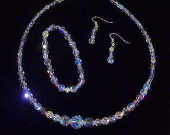 Three Piece Bridal Set - Necklace, Bracelet & Earrings - Luxurious Round Swarovski Crystals
