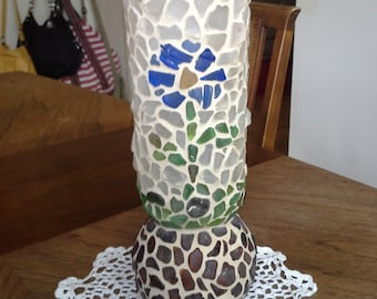handmade mosaic sea glass vase
