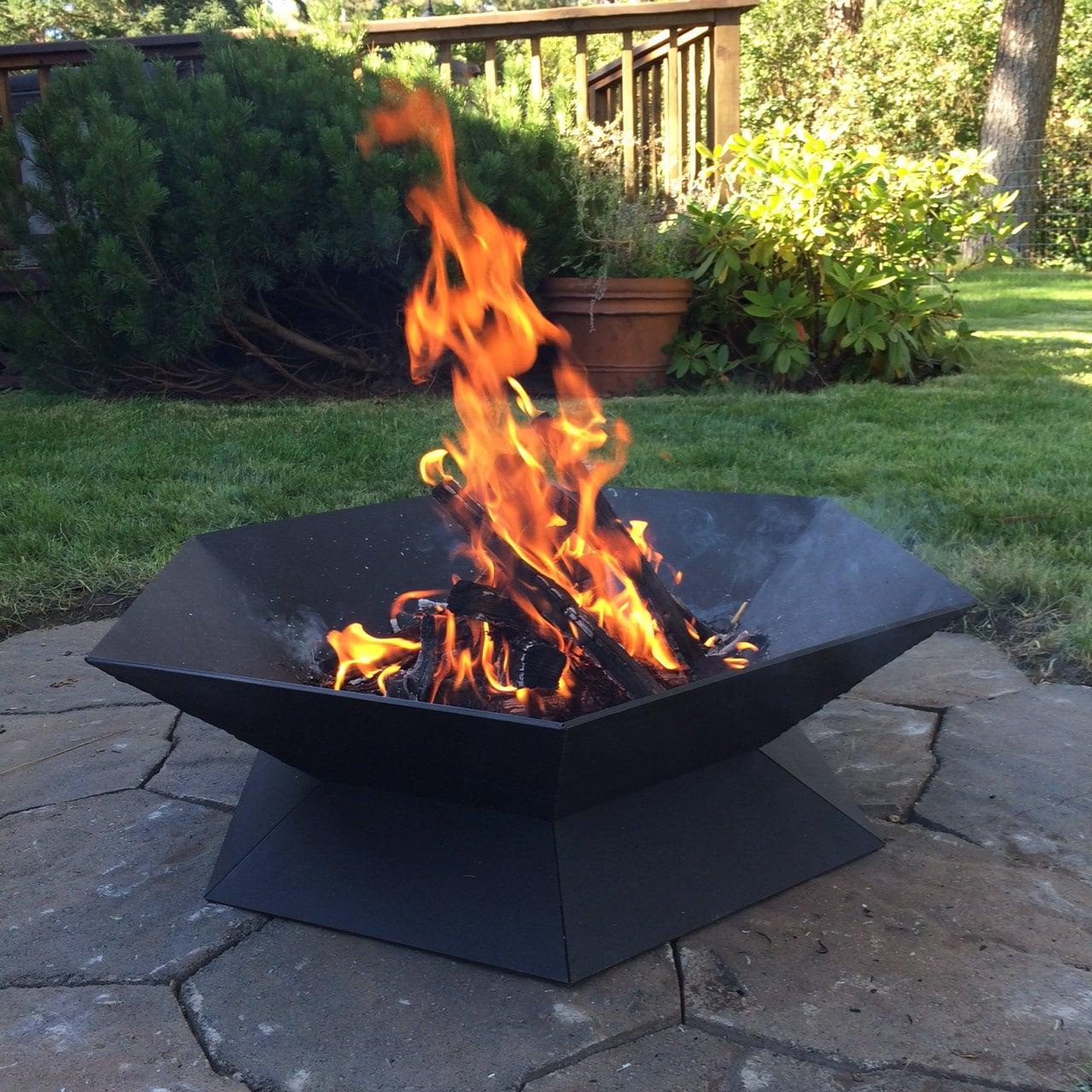 Modern geometric steel fire pit.
