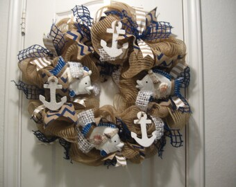 Nautical Summer Deco Mesh Wreath