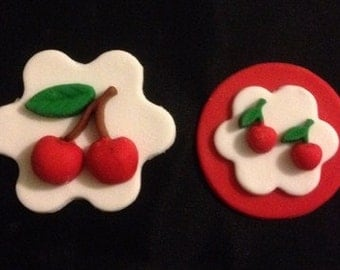 12 Cherries fondant Cupcake Toppers