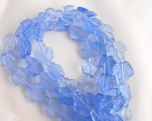 23 14mm light blue glass leaf beads, pressed patterened glass, maple leaf beads C5723