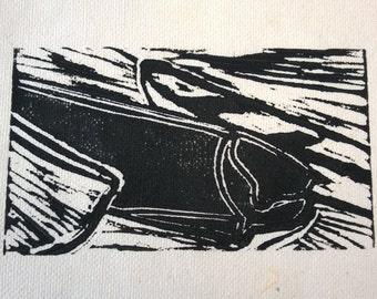 Lino Print Boats