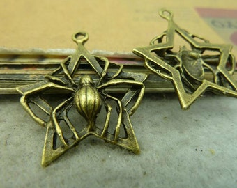 10pcs 28x32mm Antique Bronze Spider Charm Spider Pendant A