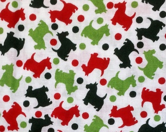 Festive Christmas Scotties Fabric