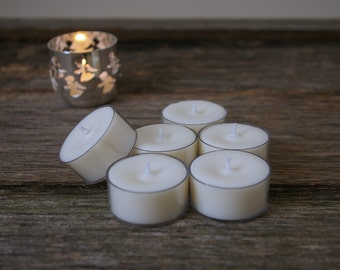 6pk Unscented Soy Tealights - Vegan - Hand Poured