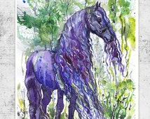 Friesian Horse Watercolor Painting, Equine Art, Violet , Equestrian Decor, Horse art Print, Horse Wall art, horse Illustration Animals Gifts