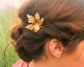 2 Gold Maple Leaf Hair Pins Maple Leaf Bobby Pin Woodland Wedding Rustic Wedding Nature