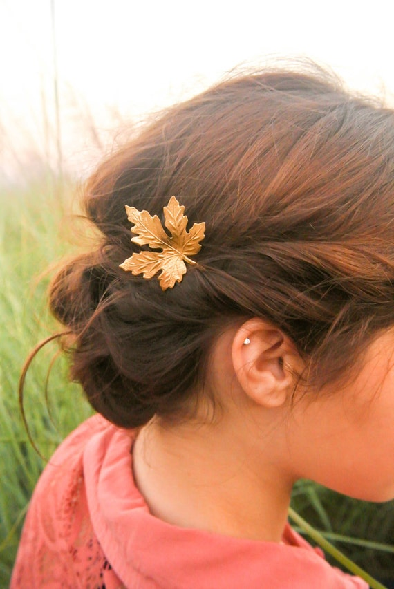 Gold Maple Leaf Hair Pins Maple Leaf Bobby Pin Fall hair Pin Woodland Hair Accessory
