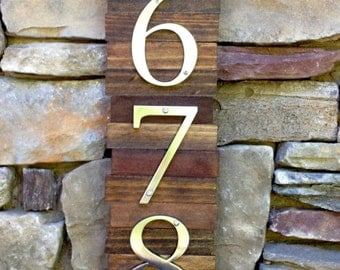 Decorative House Number Plaque (5#'s). Wooden Plaque Hanger w/ Metal Numbers. Hanging Wooden House Number Plaque. Suits Modern/Rustic Style.