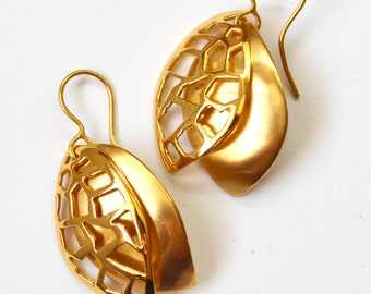 Gold dangle earrings, sawed earrings,  gold plated dangle earrings.