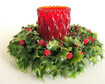 Vintage Plastic Holly Candle Wreath