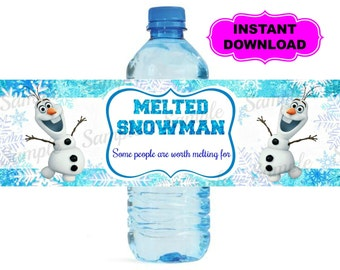 Frozen Water Bottle Label - Printable - Digital - Birthday Party -  Instant Download