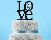 Love Cake Topper Custom wedding cake topper, monogram initials cake topper, Uppercase Initials cake topper, Engagement cake topper-4506