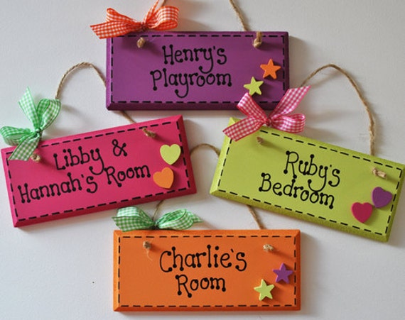 Items Similar To Personalised Bright Plaques With Stars Or Hearts On Etsy