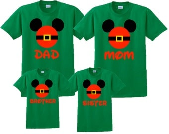 Mickey Mouse Santa Claus Hat Christmas Vacation T-Shirt