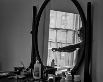 Vintage Black and White Photography Fine Art Print, Woman In The Mirror