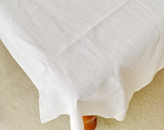 Pure Linen White Tablecloth 90/108/126/144 inches Wedding Decor, Shower Party Decor, Banquet Tablecloth
