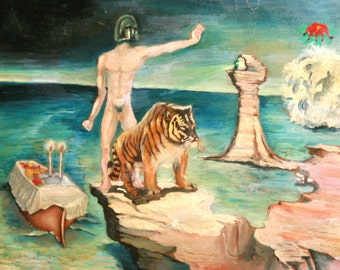 European oil painting surrealism figures 1970's signed