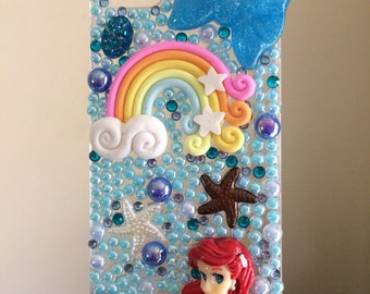Ariel Little Mermaid Iphone 5/5s hand made phone case pearls crystals