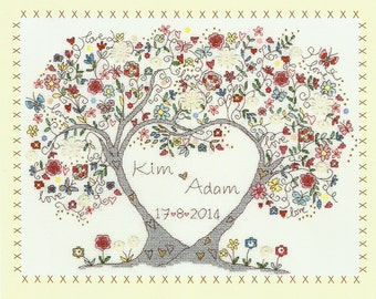Bothy Threads Love Blossoms Counted Cross Stitch Kit - 34 x 26cm