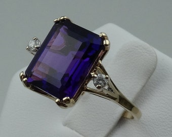 Stunning 14K Yellow Gold Royal Purple Amethyst and Diamond Ring  #PPAMETHY-GR3