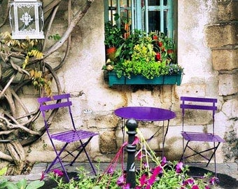 Paris Photography Print, French Cafe, Bistro Picture, Kitchen Decor, French Garden, Romantic, Purple, Wall Art, 8 x 8 Print, 8 x 10 Photo