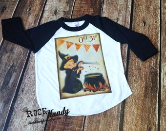 Girl Vintage Witch Halloween Shirt