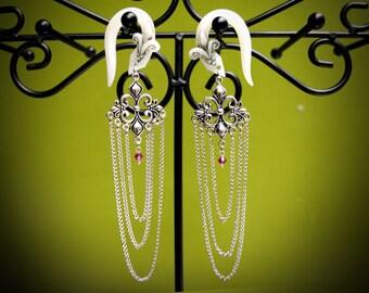 """Fleur de Lis Antiqued Dangle Earrings For Stretched Lobes - Fake, 2g, 0g, 00g, 7/16"""", 1/2"""", 9/16"""", 5/8"""", 11/16"""",  3/4"""" - Gauges"""