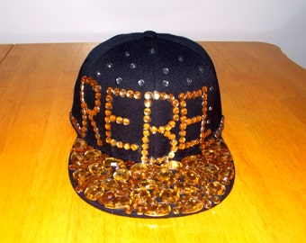 Custom Made Bling Hat Black W Gold Amp Silver Quot Rebel
