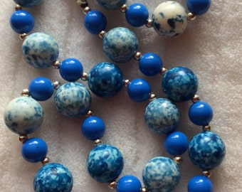 Vintage Acrylic Beaded Necklace - Blue Monday