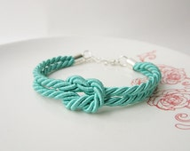 tie the knot bracelet, bridesmaid jewelry, rope bracelet in nautical wedding, maid of honor jwelry, flower girl, mint wedding