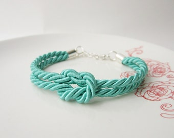 tie the knot bracelet, bridesmaid gift willyou be my bridesmaid jewelry, rope bracelet nautical wedding, maid of honor jewelry mint wedding