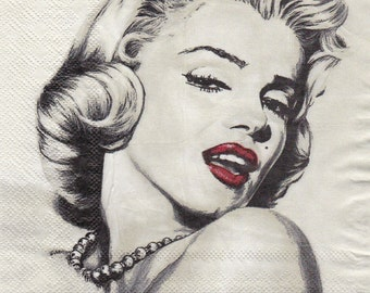 Set of 2(two)  pieces , decoupage napkins  2-ply  33x33cm  Marilyn Monroe