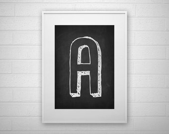 Typography Art Print - A - Chalkboard - Letter poster - Printable - Wall Art