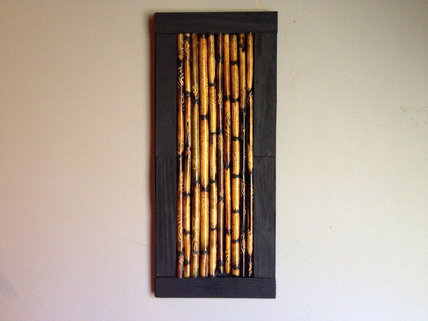 Bamboo stick framed art altered rustic designs bamboo art for Bamboo wall art