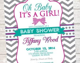 Baby Girl Shower Invitation - Printable - Pink Bow teal, gray, chevron, polka dot